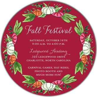 Pumpkin Patch (Scarlett) Round Invitation