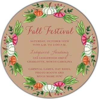 Pumpkin Patch (Champagne) Round Invitation