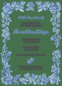 Soft Blue Baby Border Invitation