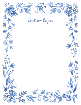 Soft Blue Baby Border Flat Note