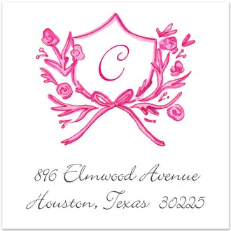 Pink Petite Crest Return Address Label