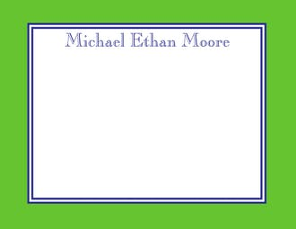 Green & Navy Border Flat Note