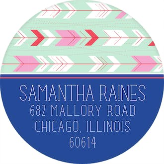Mint Arrows Return Address Sticker