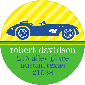 Race Car Return Address Sticker
