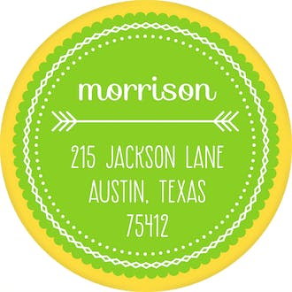 Yellow Arrows Return Address Sticker