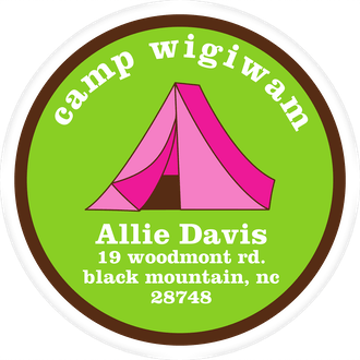 Pink Tent Camp Label