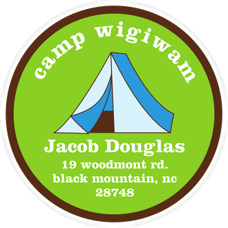 Blue Tent Camp Label