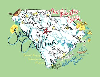 South Carolina Map Folded Note