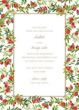 Bountiful Pomegranate Border Invitation