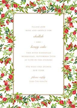 Bountiful Pomegranate Border Invitation