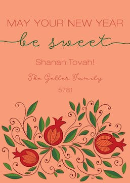 Sweet Pomegranate New Year Invitation