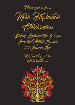 Red & Gold Tree of Life Invitation