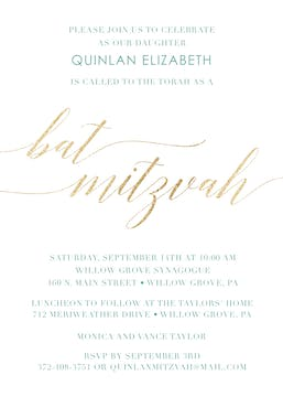 Foiled Bat Mitzvah Invitation