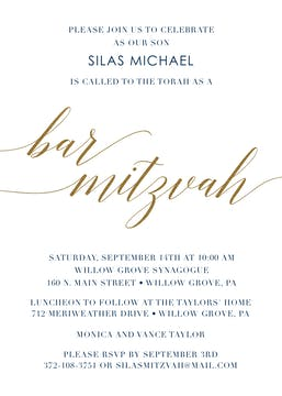 Foiled Bar Mitzvah Invitation