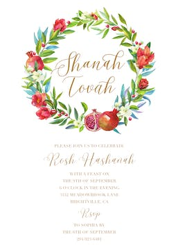 Watercolor Pomegranate Wreath Invitation
