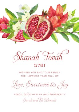 Watercolor Pomegranate Invitation