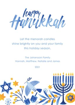 Happy Hanukkah Miracles Flat Greeting Card