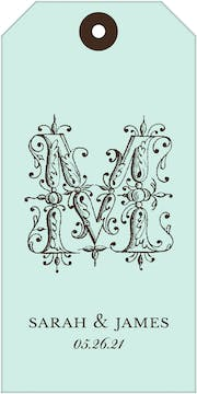 Ornate Letter Robin's Egg Gift Tag