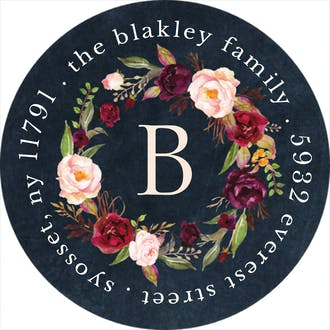 Merlot Bouquet Return Address Sticker