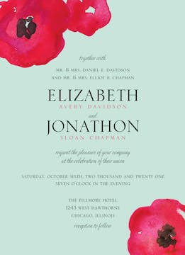 Painted Poppies Wedding Invitation