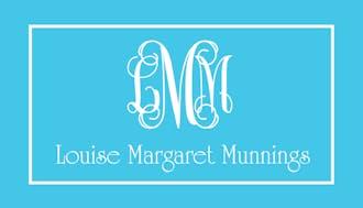 Aqua Monogram Enclosure Card