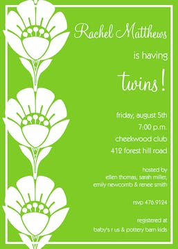 Green Flower Twins Invitation