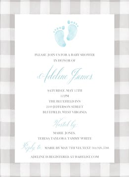 Sweet Feet Baby Boy Shower Invitation