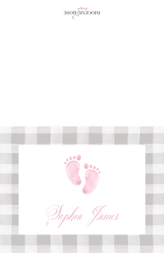 Sweet Feet Baby Girl Folded Note